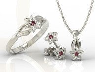 Set - Ring, earrings and pendant 14ct white gold with ruby BP-14/BP-15B SET