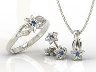 Set - Ring, earrings and pendant 14ct white gold with sapphire BP-14/BP-15B SET
