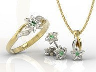 Set - Ring, earrings and pendant 14ct yellow & white gold with emerald BP-14/BP-15ZB SET