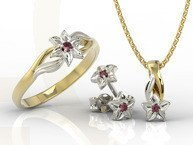Set - Ring, earrings and pendant 14ct yellow & white gold with ruby BP-14/BP-15ZB SET