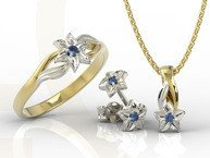 Set - Ring, earrings and pendant 14ct yellow & white gold with sapphire BP-14/BP-15ZB SET