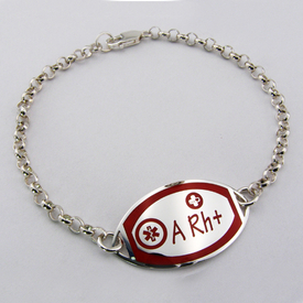 Silver bracelet with blood goup in red enamel WEC-S-BR-MED-1