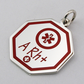 Silver elegant pendant  with a red enamel (your blood group) WEC-S-WIS-MED-1