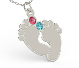 Silver necklace in the shape of foots & Swarovski aqamarine MIX
