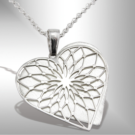 Silver pendant heart with cut model WEC-Serce-2