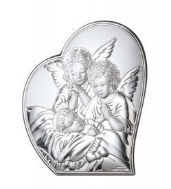 Silver shell gorget Angel with Child VL81223/2L