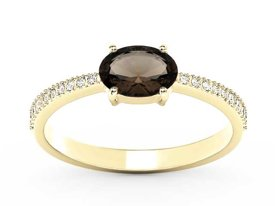 Smoky quartz 14ct yellow gold ring with cubic zirconias BP-58Z-R-C