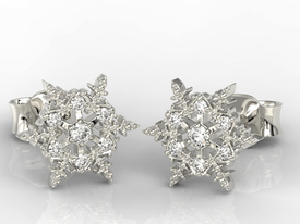 Snowflakes, 14ct white gold earrings with cubic zirconias LPK-8609B-C