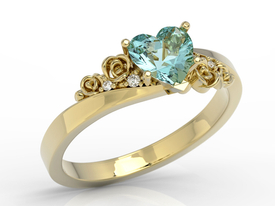 Swarovski Ice Blue topaze 14ct gold ring with cubic zirconias AP-53Z