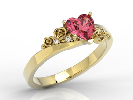 Swarovski Red topaze 14ct gold ring with cubic zirconias AP-53Z