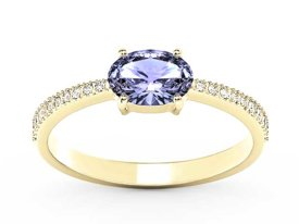 Tanzanite 14ct yellow gold ring with cubic zirconias BP-58Z-R-C