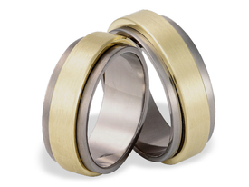 Titanium wedding ring with yellow gold SWTG-27/8-m