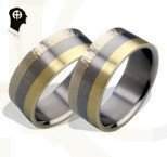 "Titanium wedding rings HADRYS ""Trio with white"""