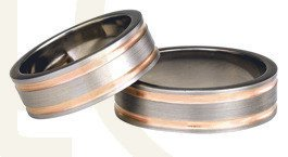 Titanium wedding rings with red gold SWTRG-75/7