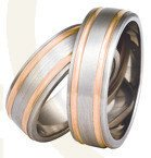 Titanium wedding rings with red gold SWTRG-76/7