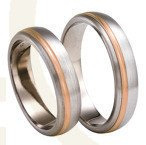 Titanium wedding rings with red gold SWTRG-77/5