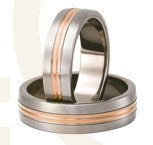 Titanium wedding rings with red gold SWTRG-79/6