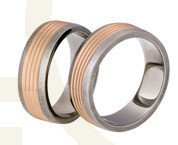 Titanium wedding rings with red gold SWTRG-80/7