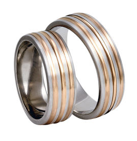 Titanium wedding rings with red gold SWTRG-83/7