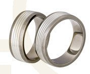 Titanium wedding rings with silver SWTS-80/7