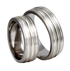 Titanium wedding rings with silver SWTS-83/7