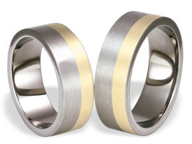 Titanium wedding rings with yellow gold SWTG-59/7