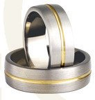 Titanium wedding rings with yellow gold SWTG-74/7