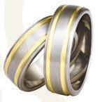 Titanium wedding rings with yellow gold SWTG-76/7