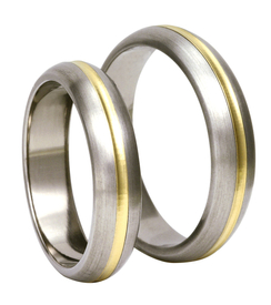 Titanium wedding rings with yellow gold SWTG-81/5