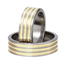 Titanium wedding rings with yellow gold SWTG-82/7