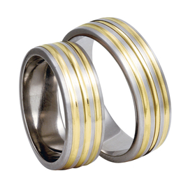Titanium wedding rings with yellow gold SWTG-83/7