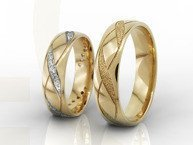 Wedding rings, 14ct yellow gold, in woman's ring cubic zirconias OB-07Z-R-D (paire)