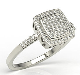 White gold ring with cubic zirconias LP-64B-C