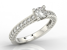 White ring with cubic zirconia LP-16B