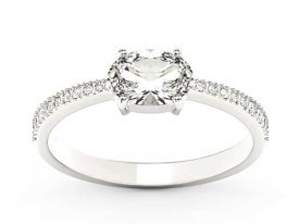 White sapphire 14ct white gold ring with cubic zirconias BP-58B-C