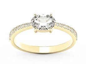White sapphire 14ct yellow gold ring with cubic zirconias BP-58Z-R-C