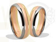 Yellow, white palladium and red gold wedding rings  ŁN-42ZBC-EXTRA light