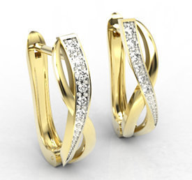 14ct yellow gold earrings with cubic zirconias LPK-67Z-C