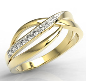 14ct yellow gold ring with cubic zirconias LP-6708Z-R-C