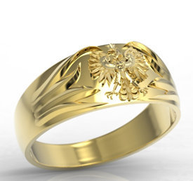 14ct yellow gold signet with an eagle INSIGNE SJ-13Z