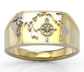14ct yellow & white gold marine signet SJ-14ZB