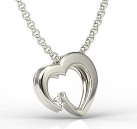 Diamond, 14ct white gold pendant in the shape of a heart LPW-95B
