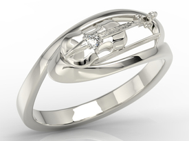 Diamond 14ct white gold ring in the shape of the violin BP-1302B