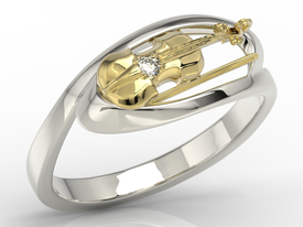 Diamond 14ct white & yellow gold ring in the shape of the violin BP-1302BZ