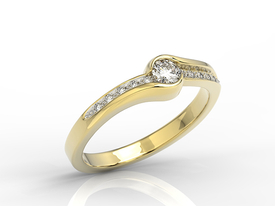 Diamond 14ct yellow gold, engagement ring 0,19ct BP-3419Z-R