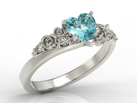 Diamond 14k white gold ring with Swarovski Blue topaze AP-5312B
