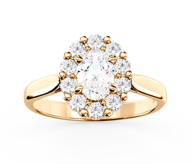 Diamond & Swarovski White Topaz engagement ring, yellow gold BP-57Z