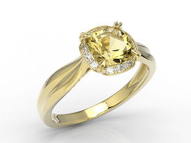 Diamond and citrine yellow gold ring AP-45Z-R