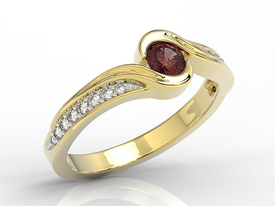 Diamond and garnet 14ct yellow gold BP-28Z-R