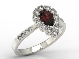 Diamond & garnet 14ct white gold ring 0,48ct  AP-29B